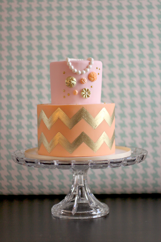 Gold Chevron Birthday Cake