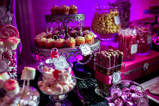 Black and Pink Sweets Table