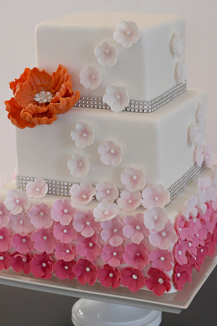The Couture Cakery -Pink Ombre Wedding cake