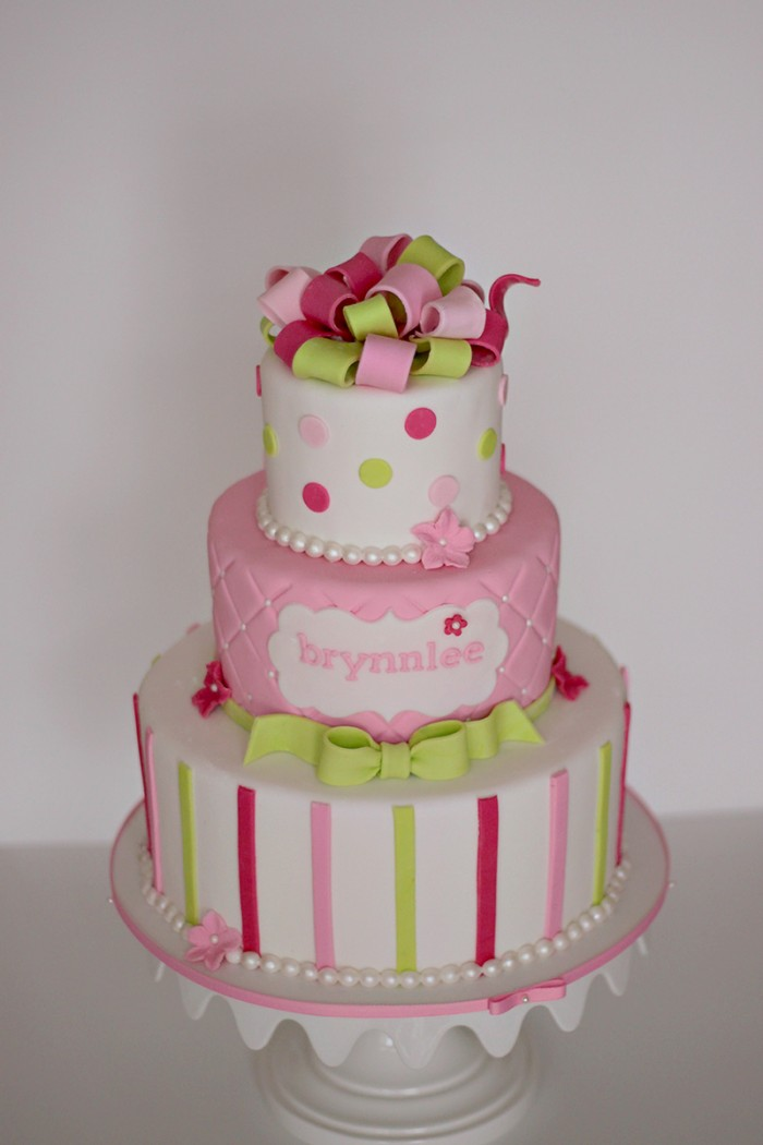 The Couture Cakery - Pink & green baby shower cake