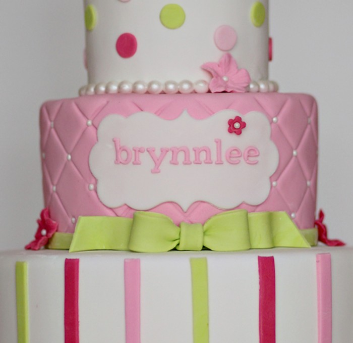 The Couture Cakery - pink, green baby shower cake