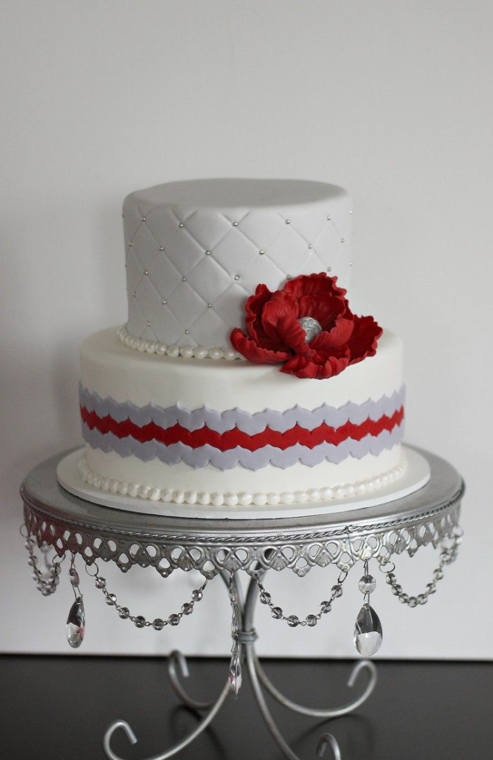 red silver wedding cakes chevron amp ruby anniversary cake the couture cakery 19153